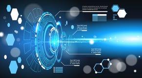 套计算机未来派Infographic元素技术摘要背景模板图和图表,与拷贝的横幅 库存图片