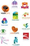套许多不同的徽标和符号 免版税库存照片