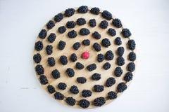套许多黑莓和莓在圆的木盘子 库存照片