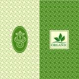 套设计元素,优美的商标模板 有机的无缝的样式背景,健康,食品包装 绿色标签和 皇族释放例证