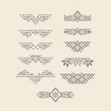 套设计的葡萄酒图表元素 邀请的,海报线艺术设计 线性元素 几何样式 Lineart 库存例证