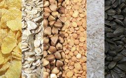 套谷物剥落分裂了豌豆,荞麦,五谷,麦子谷物,向日葵种子 库存照片