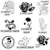 套象征和徽章花店或卖花人的 向量例证