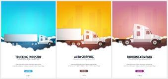 套货车运输业海报,后勤和交付 半卡车 也corel凹道例证向量 库存例证
