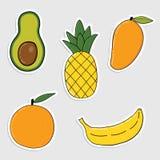 套贴纸用五颜六色的手拉的水果和蔬菜 免版税图库摄影