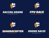 套赛跑的quadrocopter商标 向量例证