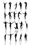 套跳舞和跳跃女孩剪影。 免版税图库摄影