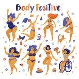 套跳舞在比基尼泳装的身体正面愉快的妇女 库存照片