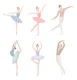 套跳芭蕾舞者 在平的样式的传染媒介例证 女孩和人芭蕾舞短裙的穿戴,另外编舞位置 库存例证