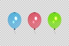 套透明气球用不同的颜色 隔绝在透明背景 明信片,小册子设计的元素  皇族释放例证