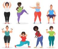 套逗人喜爱加上大小弯曲了做健身锻炼的妇女 肥胖妇女体育和健身 皇族释放例证