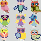 套逗人喜爱的五颜六色的传染媒介猫头鹰 库存照片
