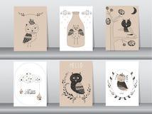 套逗人喜爱的动物海报,模板,卡片,猫头鹰,传染媒介例证 免版税库存照片