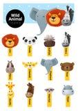 套逗人喜爱的动物象野生生物 免版税库存图片