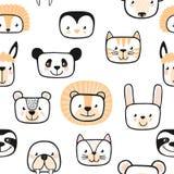 套逗人喜爱的动物 字符 无缝的模式 向量 库存例证