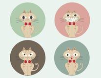 套逗人喜爱的动画片坐的猫传染媒介 免版税图库摄影
