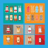 套逗人喜爱的圣诞节和新年字符 免版税库存照片