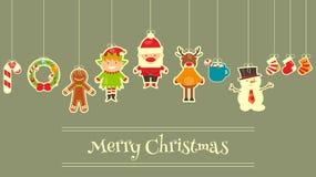 套逗人喜爱的圣诞节字符 免版税库存图片