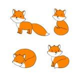 套逗人喜爱的小的狐狸 免版税库存图片