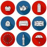 套逗人喜爱的手拉的动画片在伦敦反对 库存照片
