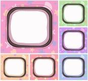 套逗人喜爱的柔和的淡色彩彩色卡片或框架一个特殊场合与拷贝空间您的文本的 向量例证