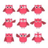 套逗人喜爱的桃红色猫头鹰激动各种各样的 库存例证