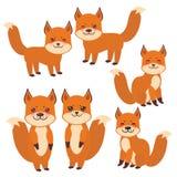 套逗人喜爱的狐狸、男孩和女孩有滑稽的面孔和大在白色背景隔绝的眼睛和蓬松尾巴的 向量 向量例证
