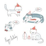 套逗人喜爱的生日猫 皇族释放例证