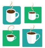套通入蒸汽的咖啡杯 皇族释放例证