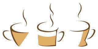 套通入蒸汽的咖啡杯 向量例证