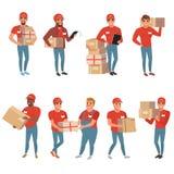 套邮政工作人员用不同的姿势 传讯者或送货业务 与小包包裹箱子的人字符 库存例证