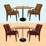 套酒吧的家具和咖啡馆桌和椅子 库存照片