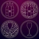 套酿酒,商店或者酿酒厂的线性商标 库存例证