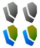 套重叠的盾象/标志 环绕,锋利和colo 向量例证