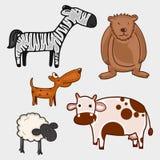 套野生和宠物字符 库存图片