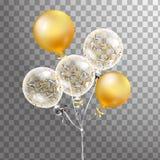 套金子,在天空中隔绝的白色透明氦气气球 事件设计的结霜的党气球 党装饰为 免版税库存照片