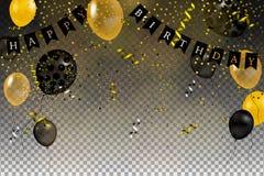 套金子,黑色,黄色,在天空中隔绝的白色氦气球 库存照片