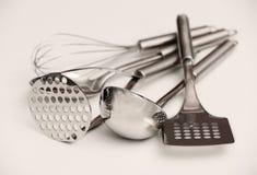 套金属厨房器物 图库摄影