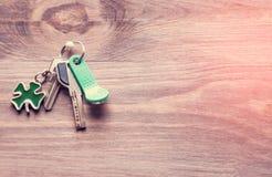 套金属和与一棵钥匙圈型三叶草的磁性钥匙生叶以在黑暗的木背景的绿色 定调子 库存照片