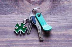 套金属和与一棵钥匙圈型三叶草的磁性钥匙生叶以在黑暗的木背景的绿色 库存照片