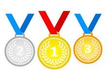 套金牌、银和古铜 在平的样式的奖牌象 向量例证