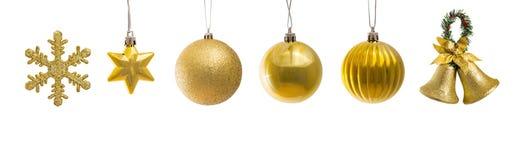 套金黄圣诞节装饰 库存图片