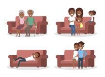 套长沙发的人 向量例证