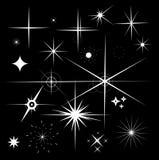 套闪闪发光星传染媒介 在黑色后面的闪闪发光白色标志 皇族释放例证