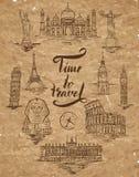 套阿格拉,开罗,里约热内卢,比萨,马德里,纽约,莫斯科,巴黎,罗马,伦敦地标,在上写字在刷子笔时光之前 向量例证
