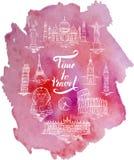 套阿格拉,开罗,里约热内卢,比萨,马德里,纽约,莫斯科,巴黎,罗马,伦敦地标,在上写字在刷子笔时光之前 库存例证