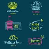 套附属的旅行和旅游业设计商标  库存照片