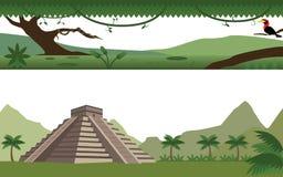 套雨林河和阿兹台克人金字塔风景 免版税库存照片