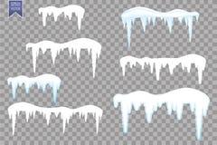 套雪冰柱,在透明背景隔绝的雪盖帽 在冬天背景的斯诺伊元素 边界月桂树离开橡木丝带模板向量 向量例证