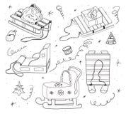 套雪撬和圣诞节玩具 库存例证